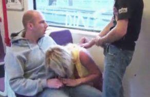 imagen Rubia tetona follada por dos hombres en el metro