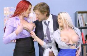 imagen Jefe afortunado se folla a la vez a dos de sus empleadas más putas